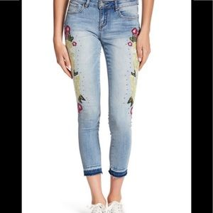 William Rast floral embroidered ankle skinny jeans